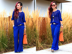 Aika Y - H&M Mesh Knit Sweater, Mango Flowy Wide Leg Trousers, H&M Aviators Sunglasses, Justfab Shocking Orange Tote Bag, Missguided Platform Heeled Sundals, Nasty Gal Statement Pendant Necklace, Aritzia Lace Bralet - Fall into Cobalt Blue