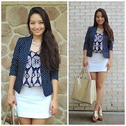 Kimberly Kong - Banana Republic Blazer, Charlotte Russe Top, Shamelessly Sparkly Necklace, Bcbg Skirt, Accessory Mercado Bag, Coach Wedges - Impossible is Nothing