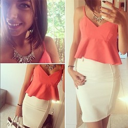 Cindy Brych -  - White Skirt with top coral