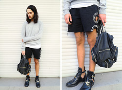 Dustin H. - Uniqlo Cashmere Sweater, Obesity And Speed Shorts, Alexander Wang Backpack, Balenciaga Shoes - Studs and cashmere