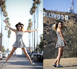 Karen Lee - Topshop Printed Romper, Jeffrey Campbell Rossdale Multicolor Oxfords, Illesteva Frieda Reflective Sunglasses - City of Angels