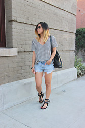 Yuka I. - Project Social T Tee, Levi's® Shorts, Isabel Marant Sandals - Classic stripes