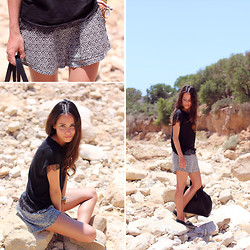 Teetharejade .com - O'neill Patterned Shorts, Zara Lace Shirt, Topshop Espadrilles, Zara Leather Shopper - Black & White in Morocco