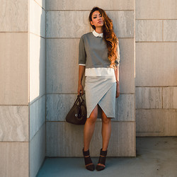 Jessica Wang - Endless Rose Top, Sole Society Heels, Asos Skirt - SHADES OF GREY