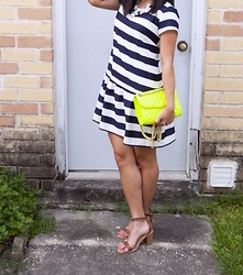 Quynh Tran - Pim + Larkin Drop Waist Dress, Rebecca Minkoff Mini Affair, Just Fab Arleigh Sandals - Feeling Stripy