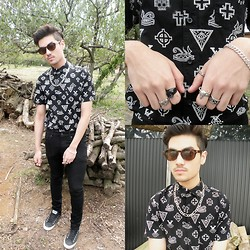 Kevin Kinno - Forever 21 Retro Brown Sunglass, Silver Chain, H&M Black Skinny Jeans, Asos Symbols Print, Converse Black Allstar, Chrome Hearts Silver Ring, Skull Ring, Chrome Hearts Silver Ring, Forever 21 Ram Skull Head Ring, Tribal Silver Ring, Gucci Guilty Pour Homme - Bitter salt of blood