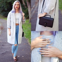 Leanne Lim-Walker - Primark Coat, Topshop Jeans, Status Anxiety Bag, Rogue And Wolf Rings - Status Anxiety
