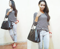 "Krystel Galos - Big ""G"" Collection Black Leather Bag, Grendene Red Shoes, Red Woods Light Washed Gray Pants - STRIPE-D"