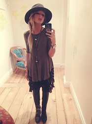 Dylan Rose Muller - Thrifted Wide Brim Hat, Free People Layring Top, Free People Voile And Lace Trapeze Slip, Jeffrey Campbell Joe Lace Up Boots, Michael Kors Watch - Fall Layering