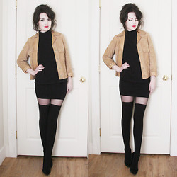 Abbey - Vintage Suede Jacket, Request Mock Neck Sweater, Siren Bodycon Skirt, Secret Sheer Tights, Commando Thigh Highs, Steve Madden Suede Pumps - You're still no better than before