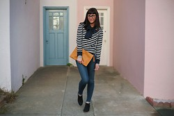 Adrienne KL - J. Crew Sweater, Uniqlo Polka Dot Blouse, Level 99 Jeans - Dots & Stripes