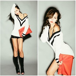 Nerr - Deep V Knitwear, Red Bag, Black Shorts - Black & White in Deep V