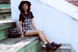 Vu Thien - Goodgirltees Slogan Tee, Sheinside Overall, Dr. Martens Pascal Boots, Chictopia Shop Socks - MY DAD SAYS I'M PRETTY SO F.U