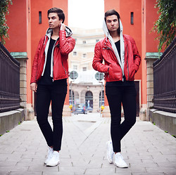 Jakob Andersson - Jofama Leatherjacket, H&M Jeans, Converse Shoes - RED.