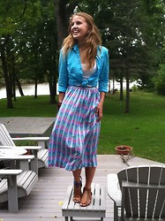 Chelsey Knuth - Crazy Horse Blue Lace Button Up, Neiman Marcus Chevron Midi Skirt - Translucent