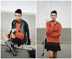 Midheta Agic - United Colors Of Benetton Sweater, United Colors Of Benetton Skirt, Zara Jacket - ORANGE IS THE NEW BLACK