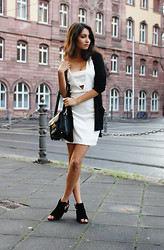Anoushka P - Missguided Black Longline Cardigan, Missguided White Cut Out Dress, Missguided Cut Out Faux Suede Boots, Missguided Gold Choker Necklace, Missguided Black Satchel - Frankfurt