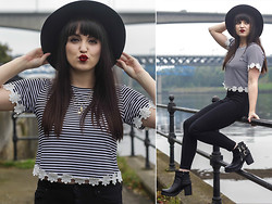 Rachael Dobbins ♡ - Hearts And Bows Stripe Crop Top, Misspap Biker Boots - Frenched