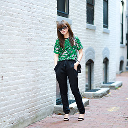 Diana Z Wang - Asos Burnout Palm Print Tee, Bcbg Silk Peg Pants With Straps And Patches, Zara Sandals, Chanel Classic Flap - Burnout palm x peg legs
