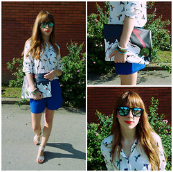 Monika Tremski - Lovelyshoes Blouse, New Yorker Shorts, Envyroom Bag, Accessorize Bracelets, Terranova Sunglasses - Bird print