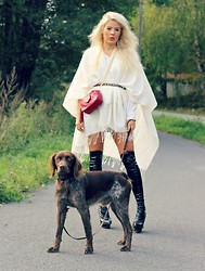 Julie W - Chanel Bag, H&M Poncho, Stella Mccartney Boots - Out for a walk