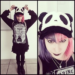 Anna Delao - Hot Topic Sweater, H&M Necklace - Goth Panda