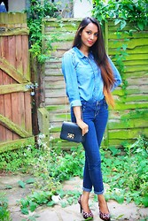 Faria Mehmood - Liquorish Crossbody Bag, H&M Denim Shirt, Dorothy Perkins Denim Jeans, H&M Ring, H&M Leopard Print Shoe - Dyed with Denim!