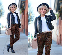 Allison K - Nasty Gal Leopard Pants, Nasty Gal Leather Jacket - Suck It and See
