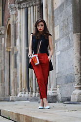 Melissa Cabrini - Zara Pants, Proenza Schouler Shoes, Moschino Bag - TRANSPARENT TOP FOR #MFW DAY 2