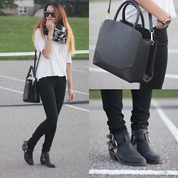 Jeannie Y - Auxiliary Satchel, Forever 21 Skinny Jeans, Wilfred Top, Raybans Sunglasses, Marc By Jacobs Watch - .Aux.