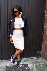 Elvira Vedelago - Missguided Miliana Baby Pink Knit Crop Top, Missguided Gricka Pink Ribbed Knit Midi Skirt, Nike Air Max Trainers, The Kooples Biker Leather Jacket (Men's), Asos Suede Sunglasses - The Kind of Look that Defies Gravity