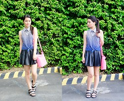 Zaira Chan - What A Girl Wants Top, Forever 21 Pleated Leather Skirt, Abby Jocson Bag, Giftsahoy Mandals - Going Gradient