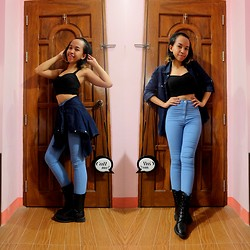 Marah Saliot - Topshop Highwaisted Jeans, Cache Denim Polo, Terranova Crop Top - Joni jean is not my lover