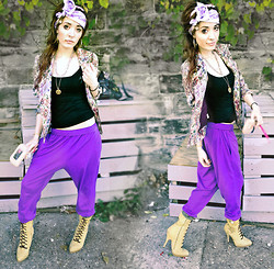 Alissa L - Rocawear Stiletto Lace Up Boots, Free People Floral Tapestry Jacket, Forever 21 Tank Top, Goodwill Purple Sag Sweats, Pentacle Pendant, Goodwill Bow Print Scarf, Betsey Johnson Wallet, Rite Aid Brown Laces - MIXING VODKA AND MILK ☾☀