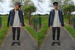 Dan Pantoja - I Love Ugly Zig Zag 5 Panel, A.P.C. Striped Top, Nudie Jeans Waxed, Sammy Icon Swallow Grey Socks - GREEN AND BLUE Δ