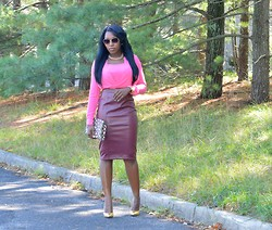 Fabulous Perks -  - Burgundy Pencil Skirt + Pink Blouse + Lepord Print Clutch