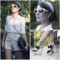 STYLEBOOM B - Balenciaga Ivory Sunnies, Alice And Olivia Gold Patent Wedges - Chic