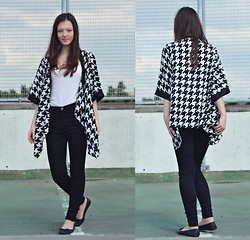 Nina JC - Chiara Fashion Geometric Print Monochrome Kimono, Celeb Look High Waisted Black Skinny Jeans, Atmosphere White Strappy Top, George Matte Ballerina Shoes - Monochrome Madness