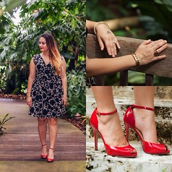 Alice Hernandez - Amh Designs Floral Dress, Ann Taylor Bangles, Nadri Bangles, Ann Taylor Linear Ring, Cotton On Heart Midi Ring, Boho Chic Beads Flash Tattoos, Ivanka Trump Red Heels - Fall In The Gardens