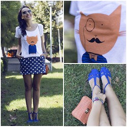 STYLEBOOM B - S.O.D.A Istanbul Printed Tee, Asos Polka Dot Dress, Tom Ford Shades - Cherish the joy