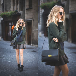 TIPHAINE MARIE - Bag, Skirt, Sweater, Boots - Preppy fall.