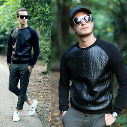 I N F A S H I O N I T Y a style story - Woodzee Cardiff Bamboo Glasses, Zara Faux Leather Sweater - WOOD