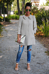Christina C - Valentino Jacket, Zara Jeans, Ann Taylor Shoes, Zara Clutch - Top Bow