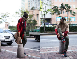 INWON LEE - Zara Beanie, Byther Check Shirt, Byther Poncho, Byther Baggy, Reebok Sneakers - All About Fall