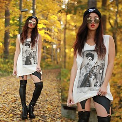 Louise Xin - Boy London Beanie, Gina Tricot Skull Top, Black Milk Clothing Suspenders, Jeffrey Campbell Lita Spike - Fall