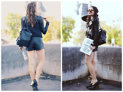 Larissa (Larz) May - Dannijo Backpack, Topshop Skort, Sorel Booties, Karl Daily Paper, Marc By Jacobs Sunglasses - CHANEL FEMININE PROTEST : THE KARL DAILY