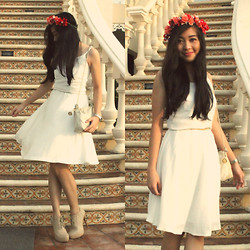 Nadine Julian - Anne Klein Silver Watch, Gibi Shoes Nude Booties, Tailored White Dress, Diy Flower Crown - Whimsical