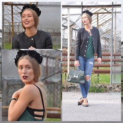 Triinu Ollema - Mango Leather Jacket, H&M Crop Top, H&M Emerald Top, H&M Ripped Jeans, Bershka Heels, H&M Black Flower Headband - Emerald green