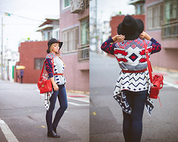 Olga Choi - Oasap Aztec Cardigan, Tommy Hilfiger Jeans, Oasap Chelsea Boots, Kate Katy Hat - Aztec code