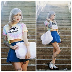 Brittany Bao - O Mighty Weekend Tie Dye Crop Tee, Style Moi Denim Mini Skirt, O Mighty Weekend Hologram Platforms, O Mighty Weekend Furbae Tote Bag - Cute And Psychedelic